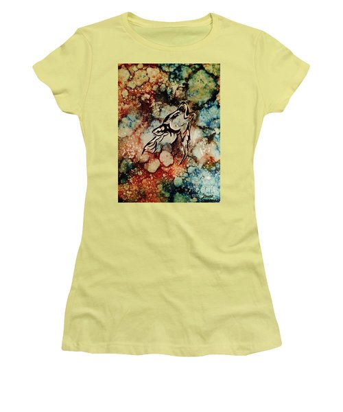 Women's T-Shirt (Athletic Fit) featuring the painting Wilderness Warrior by Denise Tomasura