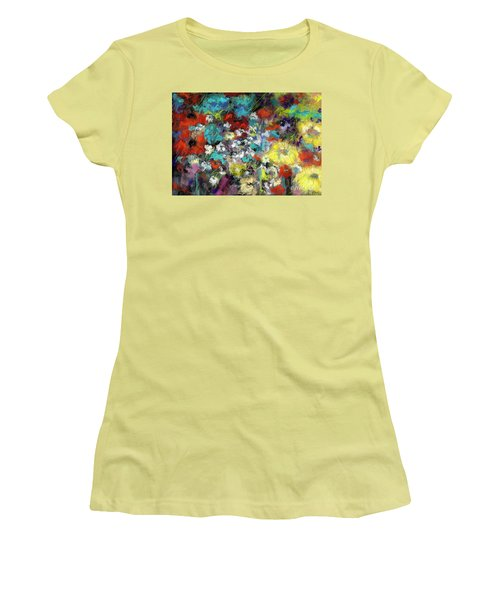 Women's T-Shirt (Junior Cut) featuring the painting Wildflower Field by Frances Marino