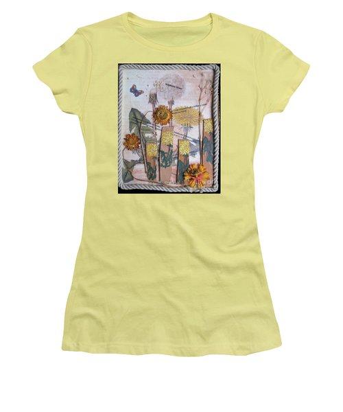 Women's T-Shirt (Junior Cut) featuring the mixed media Wildflower Honey by Sandy McIntire