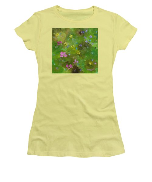 Women's T-Shirt (Athletic Fit) featuring the painting Wildflower Support by Judith Rhue