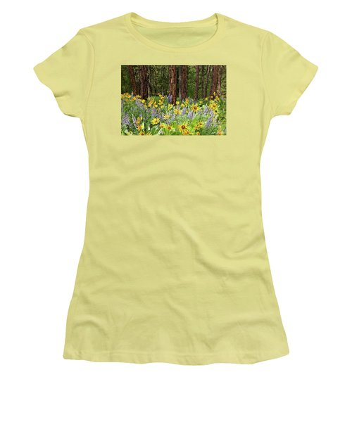 Balsamroot And Lupine In A Ponderosa Pine Forest Women's T-Shirt (Athletic Fit)
