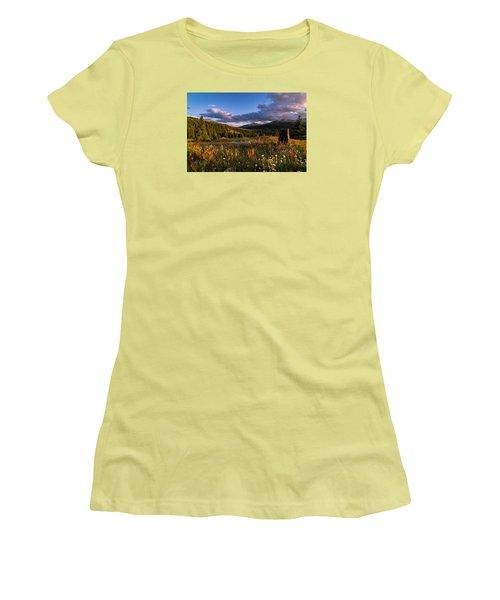 Wildflowers In The Evening Sun Women's T-Shirt (Junior Cut) by Michael J Bauer