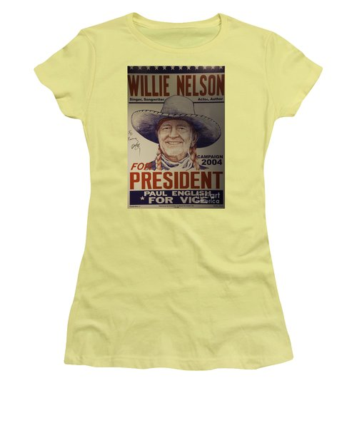 Willie For President Women's T-Shirt (Junior Cut) by Bob Hislop