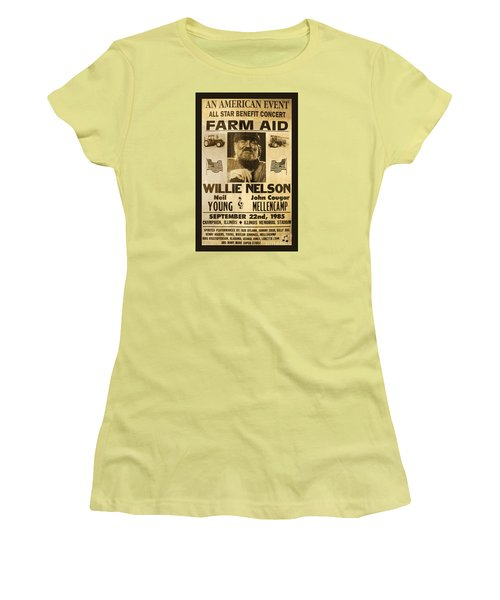 Willie Nelson Neil Young 1985 Farm Aid Poster Women's T-Shirt (Junior Cut) by John Stephens