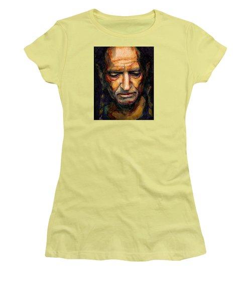 Willie Nelson Portrait 2 Women's T-Shirt (Junior Cut) by Laur Iduc