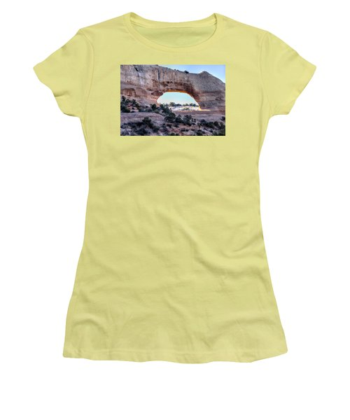 Women's T-Shirt (Junior Cut) featuring the photograph Wilson Arch In The Morning by Alan Toepfer