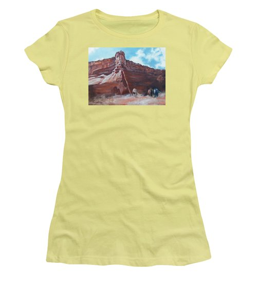 Women's T-Shirt (Junior Cut) featuring the painting Wind Horse Canyon by Karen Kennedy Chatham