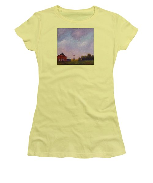 Windmill Farm Under A Stormy Sky. Women's T-Shirt (Athletic Fit)