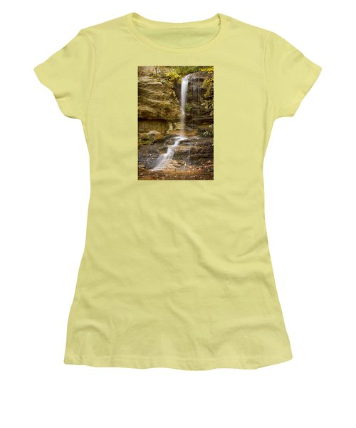 Women's T-Shirt (Junior Cut) featuring the photograph Window Falls In Hanging Rock State Park by Bob Decker