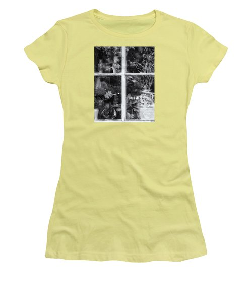 Window In Black And White Women's T-Shirt (Junior Cut) by Tom Singleton