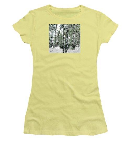 Women's T-Shirt (Junior Cut) featuring the digital art Winter Birches by Walter Chamberlain