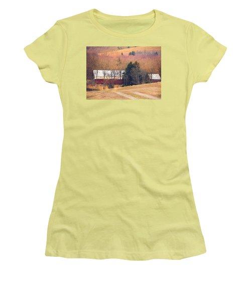 Winter Day On A Tennessee Farm Women's T-Shirt (Junior Cut) by Debbie Karnes