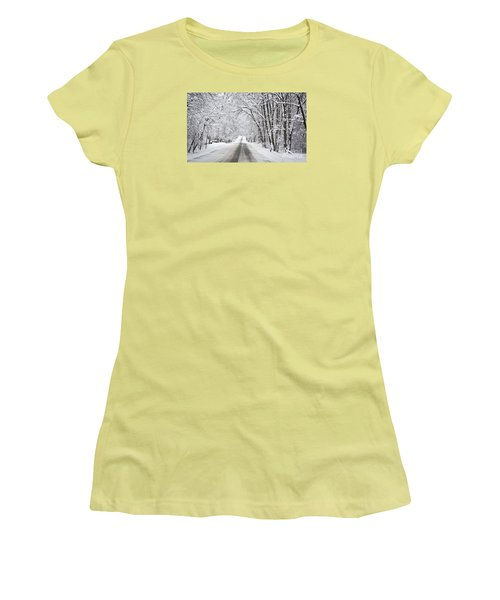 Winter Drive On Highway A Women's T-Shirt (Athletic Fit)