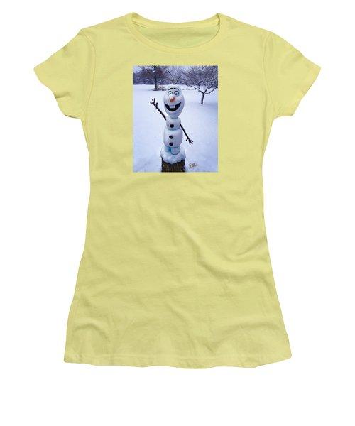 Winter Olaf Women's T-Shirt (Junior Cut) by Doug Kreuger