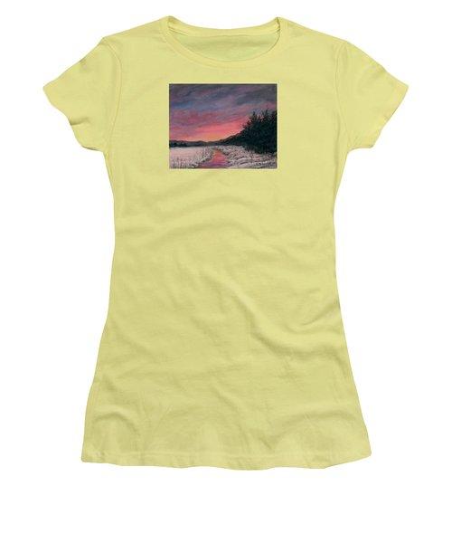 Women's T-Shirt (Junior Cut) featuring the painting Winter Sundown by Kathleen McDermott