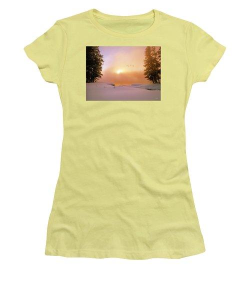 Women's T-Shirt (Junior Cut) featuring the photograph Winter Swans by Leland D Howard