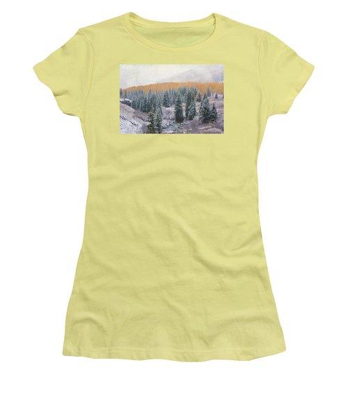 Winter Touches The Mountain Women's T-Shirt (Junior Cut) by Kristal Kraft