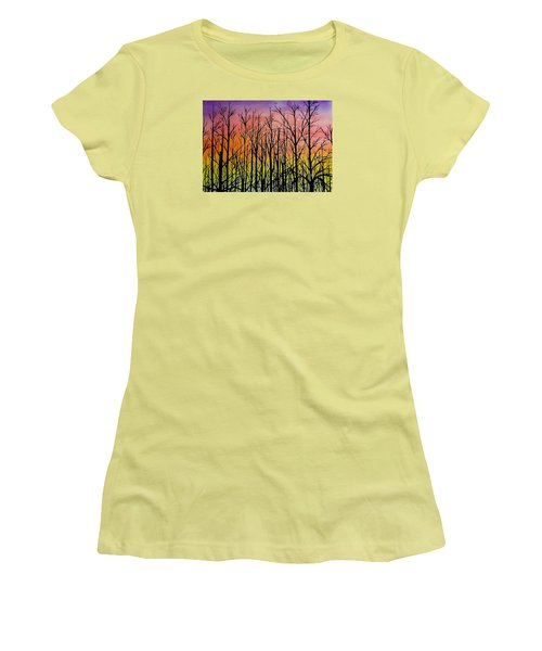 Winter Trees At Sunset Women's T-Shirt (Junior Cut) by Ellen Canfield