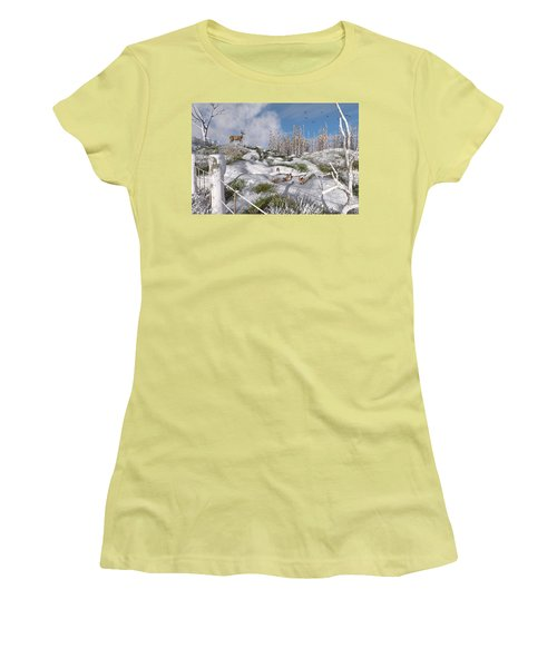 Women's T-Shirt (Athletic Fit) featuring the digital art Winter Wonderland Bunnies by Mary Almond