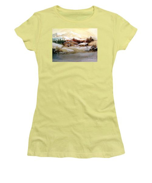 Women's T-Shirt (Junior Cut) featuring the painting Winter Wonderland  by Hazel Holland