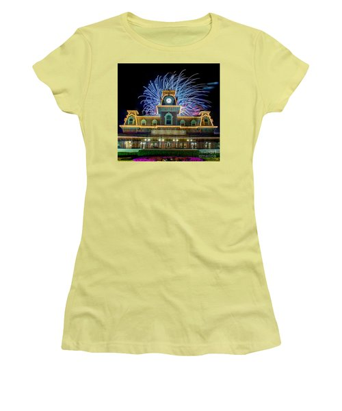 Wishes Over Magic Kingdom Train Station. Women's T-Shirt (Athletic Fit)