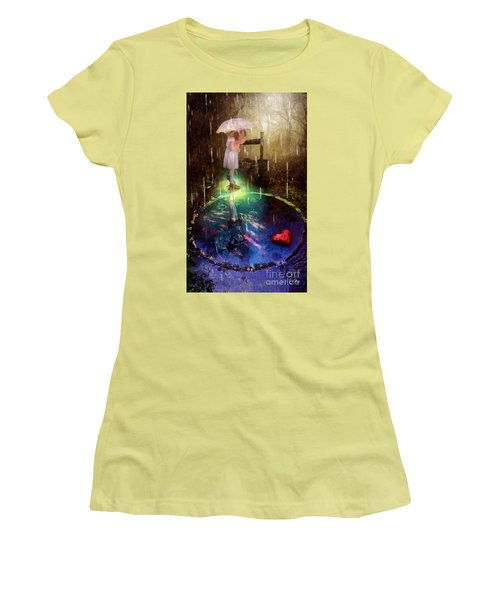 Women's T-Shirt (Junior Cut) featuring the painting Wishing Well by Mo T