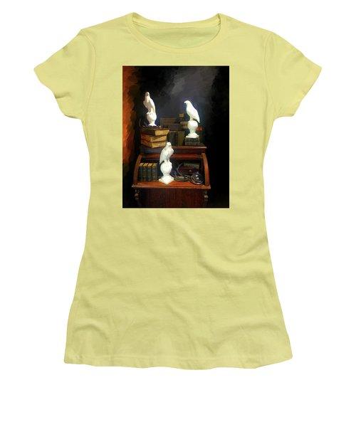 Wizards Library Women's T-Shirt (Junior Cut) by Enzie Shahmiri