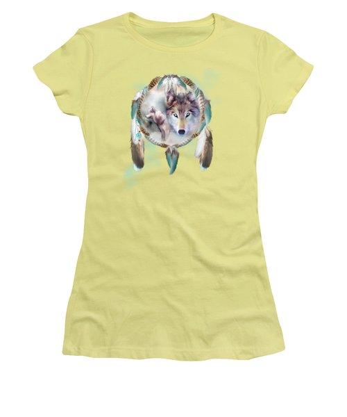 Wolf - Dreams Of Peace Women's T-Shirt (Junior Cut) by Carol Cavalaris