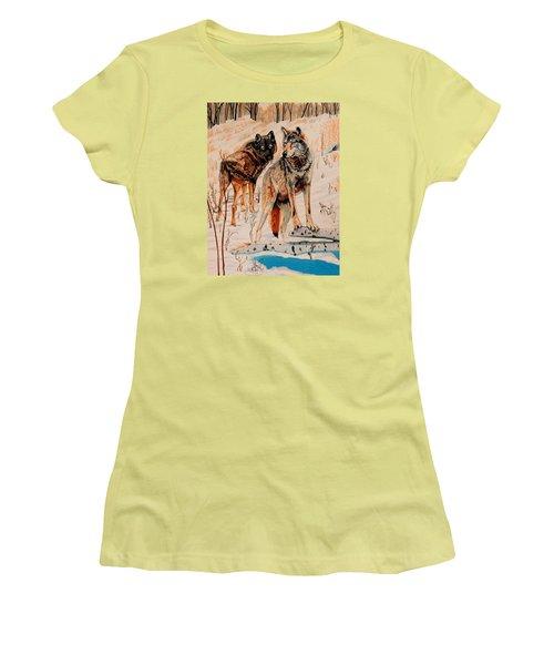 Wolves At Day Break Women's T-Shirt (Junior Cut) by Cheryl Poland