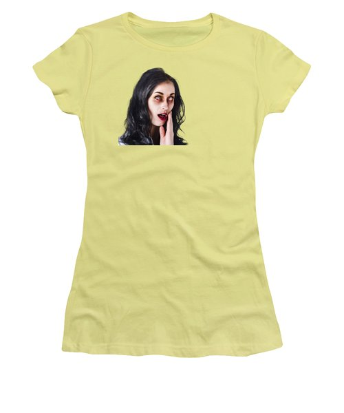 Women's T-Shirt (Junior Cut) featuring the photograph Woman In Horror Makeup by Jorgo Photography - Wall Art Gallery