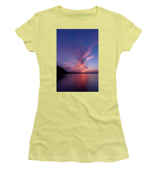 Women's T-Shirt (Junior Cut) featuring the photograph Wonderful Skeleton Lake Sunset by Darcy Michaelchuk