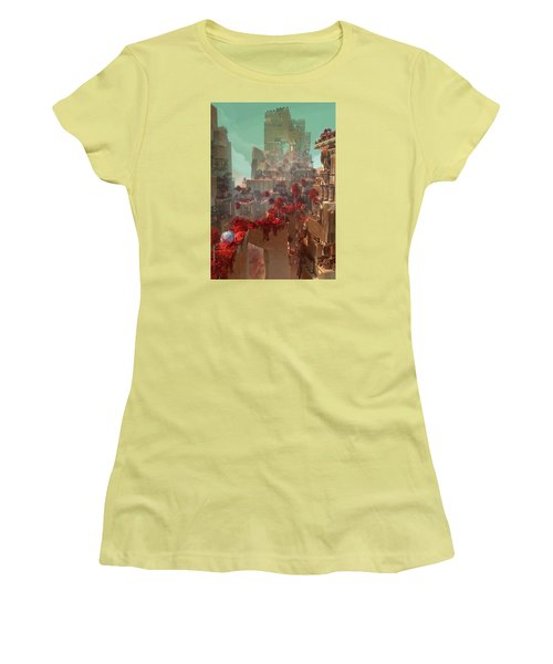 Women's T-Shirt (Junior Cut) featuring the digital art Wonders Hanging Garden Of Babylon by Te Hu