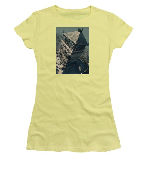 Women's T-Shirt (Junior Cut) featuring the digital art wonders Mausoleum at Halicarnassus by Te Hu