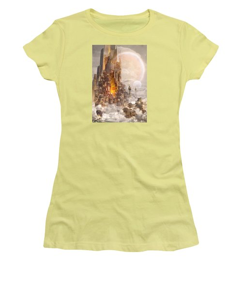 Women's T-Shirt (Junior Cut) featuring the digital art Wonders Tower Of Babylon by Te Hu
