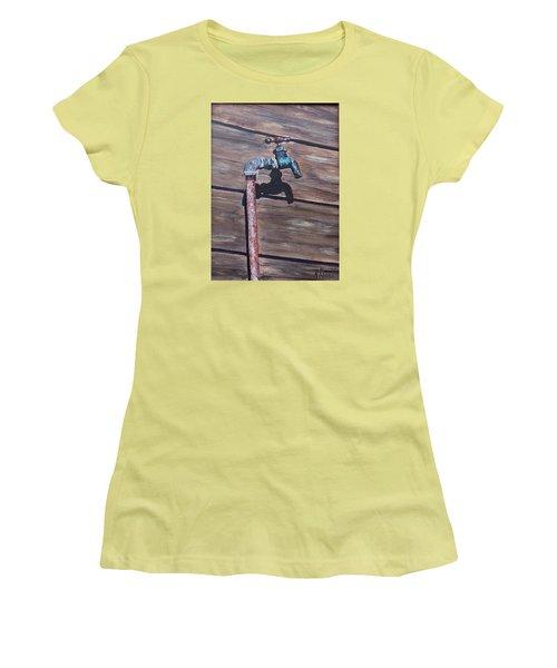 Wood And Metal Women's T-Shirt (Junior Cut) by Natalia Tejera