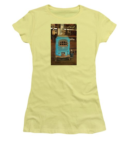 Wood Burning Heater Women's T-Shirt (Junior Cut) by Ronald Olivier