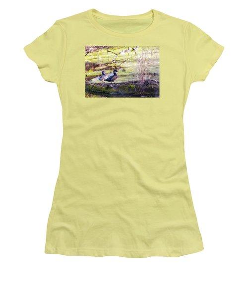 Wood Duck Couple Women's T-Shirt (Junior Cut) by Edward Peterson