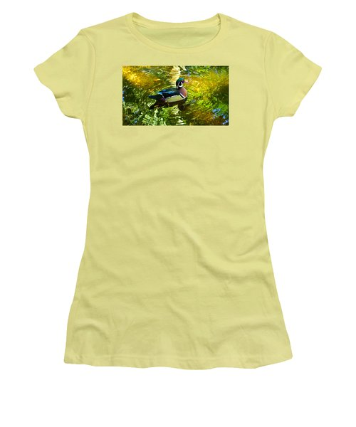 Wood Duck In Lights Women's T-Shirt (Junior Cut) by Judy Wanamaker
