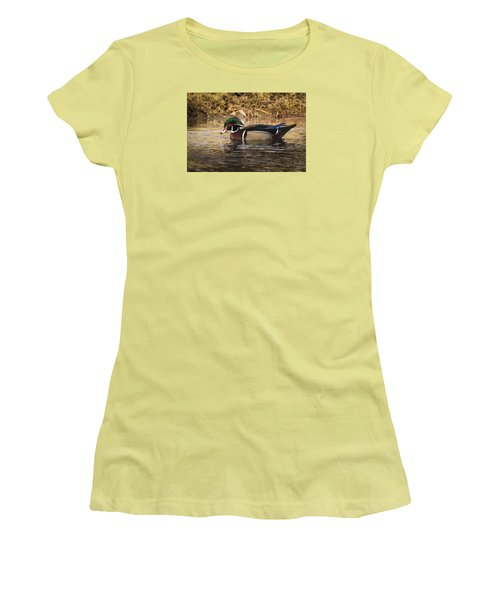 Wood Duck Women's T-Shirt (Junior Cut) by Janis Knight