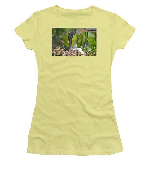 Wood Stork Chick And Mom Women's T-Shirt (Junior Cut) by Kenneth Albin