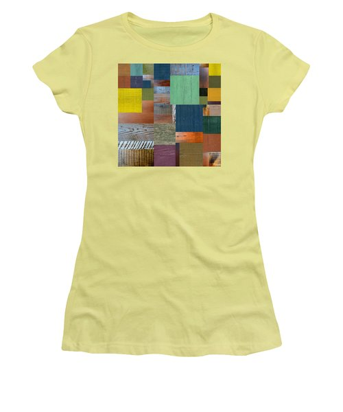 Women's T-Shirt (Junior Cut) featuring the digital art Wood With Teal And Yellow by Michelle Calkins