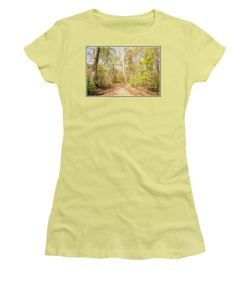 Woodland Path, Autumn, Montgomery County, Pennsylvania Women's T-Shirt (Athletic Fit)