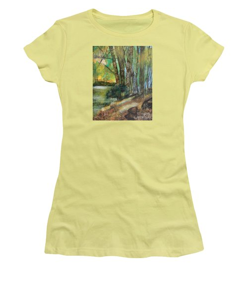 Women's T-Shirt (Athletic Fit) featuring the painting Woods In The Afternoon by Robin Maria Pedrero