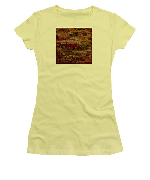 Women's T-Shirt (Junior Cut) featuring the mixed media Words Matter by Gloria Rothrock