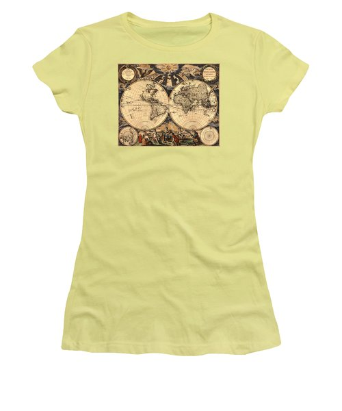 World Map 1666 Women's T-Shirt (Junior Cut) by Andrew Fare