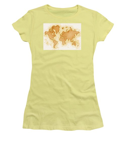 World Map Airy In Brown And White Women's T-Shirt (Athletic Fit)