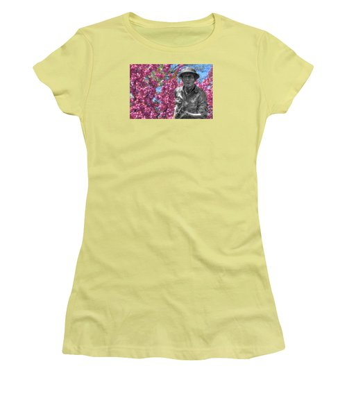 Women's T-Shirt (Junior Cut) featuring the photograph World War I Buddy Monument Statue by Shelley Neff
