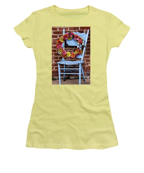Women's T-Shirt (Junior Cut) featuring the photograph Wreath In A Chair by Joan Bertucci