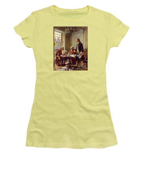Writing The Declaration Of Independence, 1776, Women's T-Shirt (Junior Cut) by Leon Gerome Ferris
