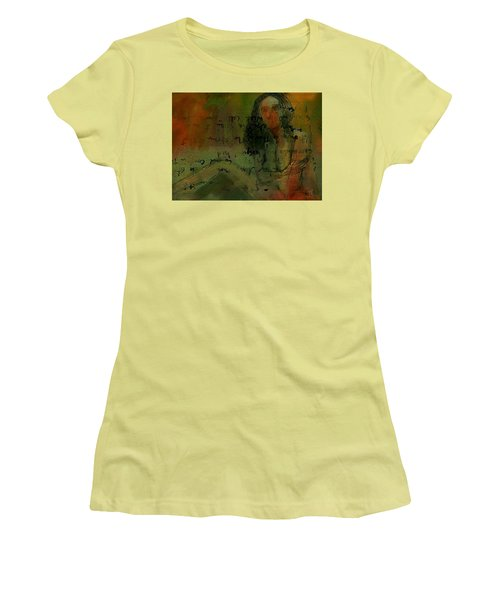 Women's T-Shirt (Junior Cut) featuring the painting Written Out by Jim Vance